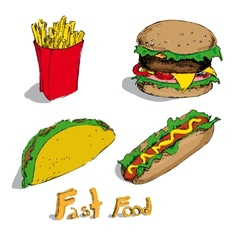 Set of fast foods vector image