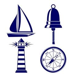 Set of marine symbols vector image vector image