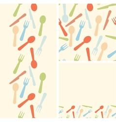 Set of three silverware seamless patterns and vector image