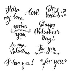 set valentine day lettering 2018 vector image