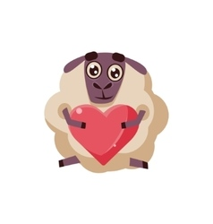 Sheep Holding A Heart vector image
