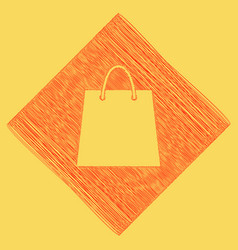 Shopping bag red scribble vector
