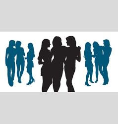 Silhouettes of three young women vector image vector image