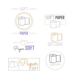 Toilet paper icon emblems labels Set of logos vector image