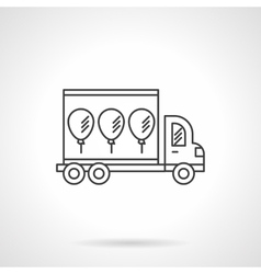 Truck with balloons icon line design icon vector