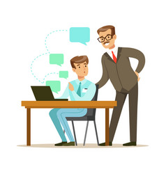 Two businessmen working together in office vector