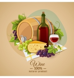 Wine and cheese poster vector