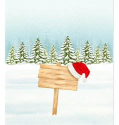 Winter nature background with a wooden sign and a vector