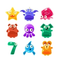 Cute Jelly Creatures Set vector image