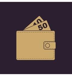 The wallet icon purse symbol flat vector