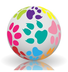 Paw prints on the ball vector image