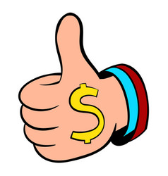 Thumbs up sign and dollar sign icon cartoon vector