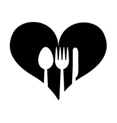 heart with set cutlery vector image