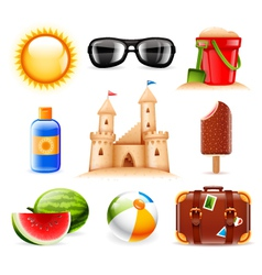 Summer and beach related icons vector image