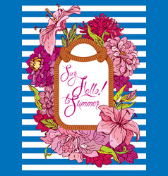 Seasonal card with rope frame and flowers on vector