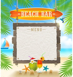 Tropical beach bar signboard and menu banner vector image