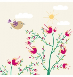 Floral card with bird vector