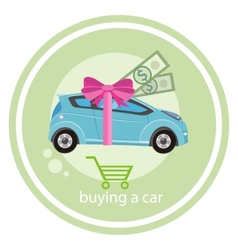 Gift car and red ribbon vector image