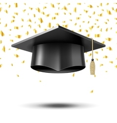 Graduation cap education concept background vector image