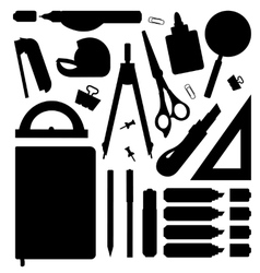 Stationery tools silhouettes set vector