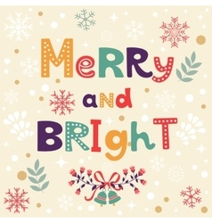 Merry and bright christmas card vector