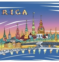 Old town and river daugava at night riga latvia vector