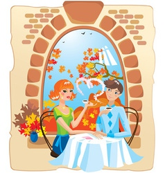 dating couple in the cafe vector image