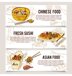 Set of asia street food horizontal banners vector