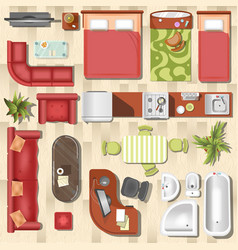 Apartment flat furniture layout top view vector
