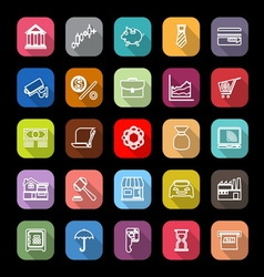 Banking and financial line icons with long shadow vector image vector image