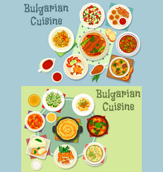 Bulgarian cuisine healthy food dishes icon set vector