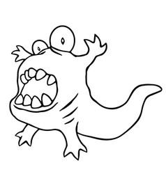 cartoon angry tadpole vector image vector image