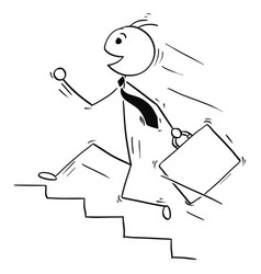 cartoon of smiling business man running upstairs vector image