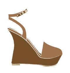 color sketch of sandal shoe with platform sole vector image vector image