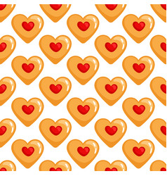 Cookies hearts seamless pattern vector