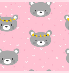 Cute seamless pattern for little girls with funny vector