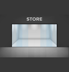 Empty illuminated store realistic exterior shop vector