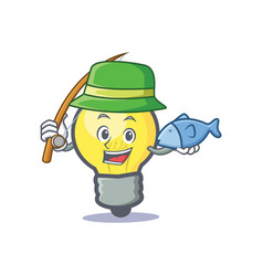 Fishing light bulb character cartoon vector