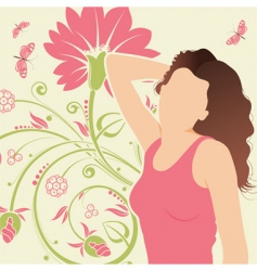floral background with girl vector image vector image