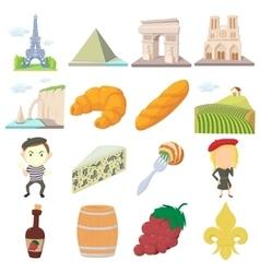 France travel icons set cartoon style vector