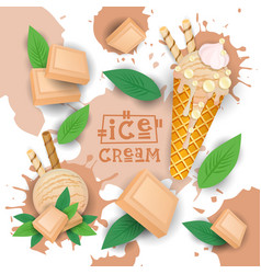 ice cream with white chocolate taste dessert vector image