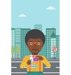 Man with modular phone vector
