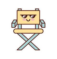 Movie director chair kawaii character vector
