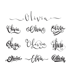 Personal name tattoo olivia vector