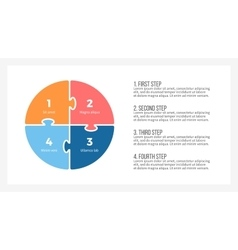 Pie chart presentation template with 4 steps vector