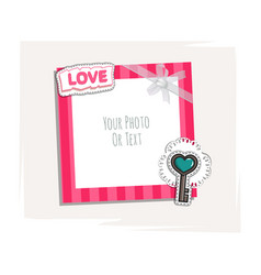 Romantic photo frame vector