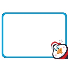 School background with cheerful New Years penguin vector image