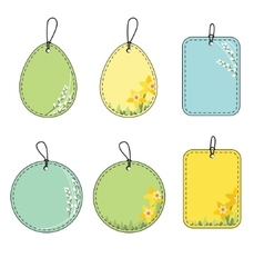 Set with floral easter tags Daffodil and pussy vector image vector image