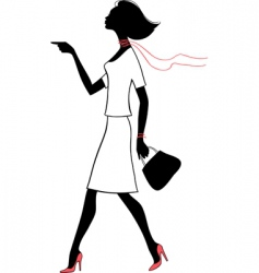 silhouette beauty woman with bag vector image vector image