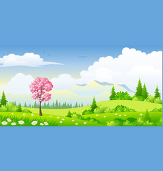 spring landscape with blossoming tree vector image vector image